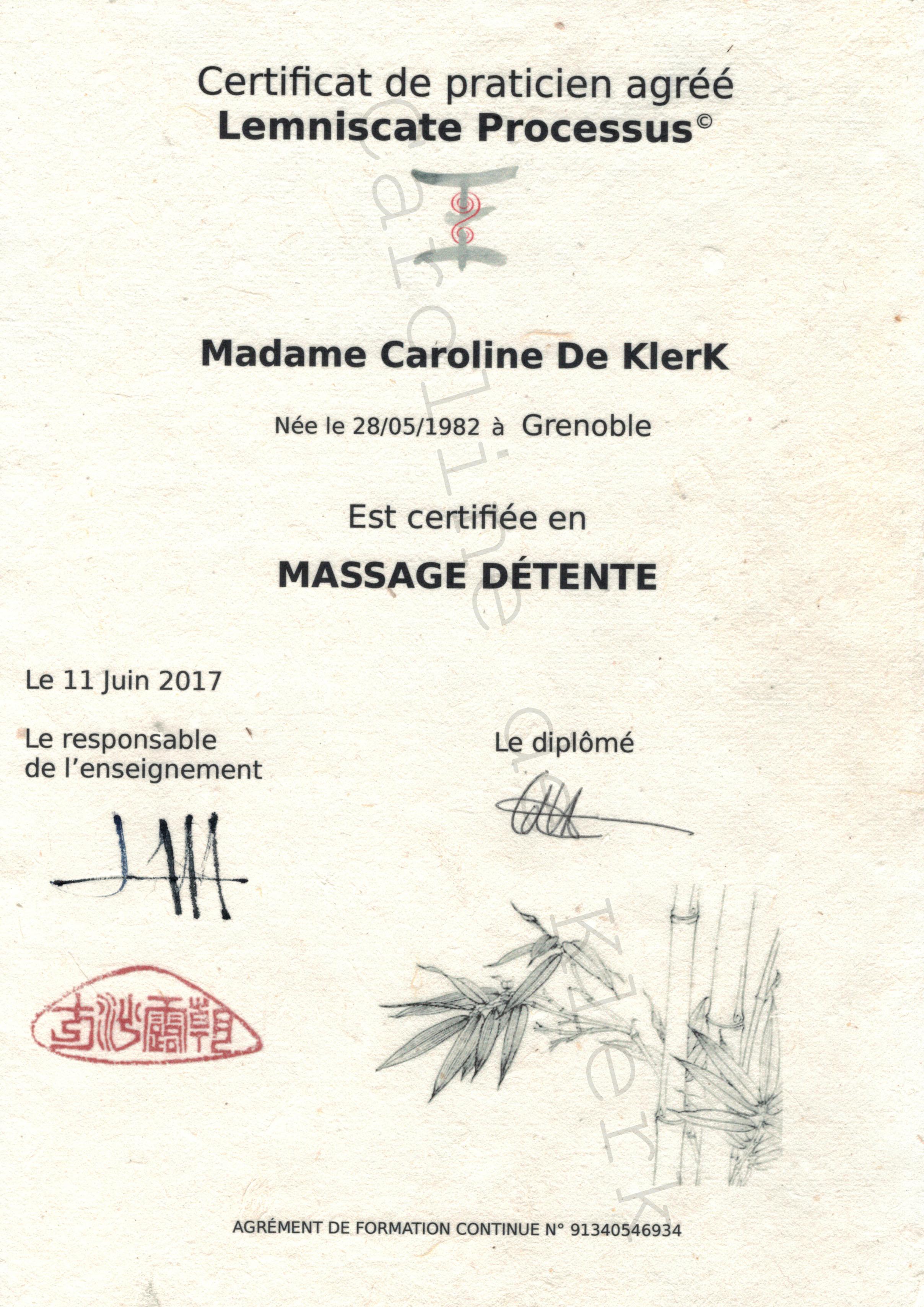 diplome massage caroline de klerk capcha